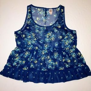 Mossimo XL Blue Floral Sheer Babydoll Tank Top